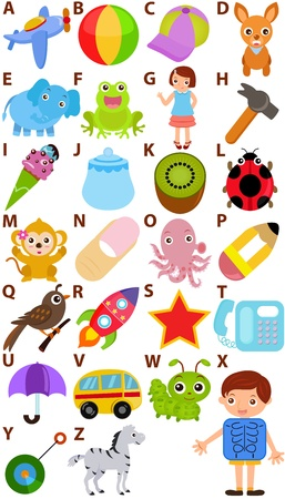 collage alphabet: Back to school : A Set of Vector Representing Alphabet A to Z - Dictionary for Kids