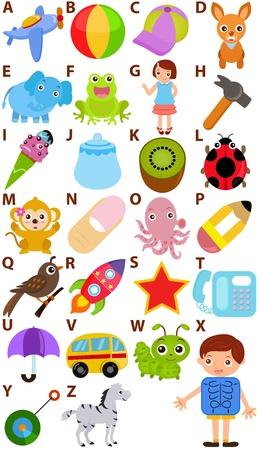 quaglia: Ritorno a scuola: un insieme di Alphabet vettore che rappresenta A alla Z - Dizionario for Kids Vettoriali