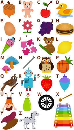 xylophone: Back to school : A Set of Vector Representing Alphabet A to Z - Dictionary for Kids