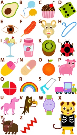 alphabet kids: Back to school : A Set of Vector Representing Alphabet A to Z - Dictionary for Kids