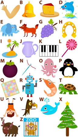 vulture: Back to school : A Set of Vector Representing Alphabet A to Z - Dictionary for Kids