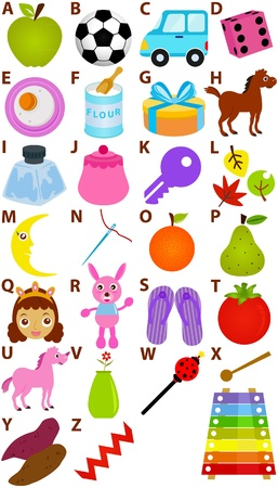 Back to school : A Set of Vector Representing Alphabet A to Z - Dictionary for Kids  Vector