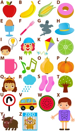 yak: Back to school : A Set of Vector Representing Alphabet A to Z - Dictionary for Kids