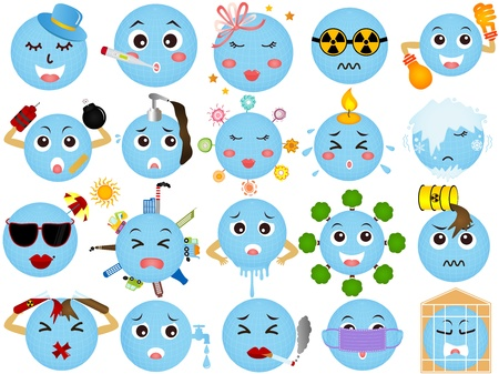 Vector Icons of Global  Environmental Change (A set of Global warming)  Vector