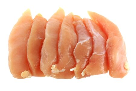 Raw and Fresh Chicken Breast Fillet isolated on white Фото со стока