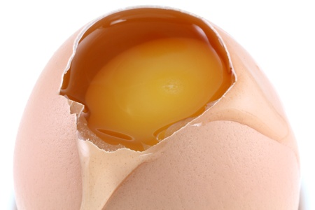 yolk: Close up of fresh chicken eggs with egg white dripping