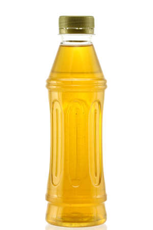 tannin: A bottle of fresh Japanese green tea isolated on a white background