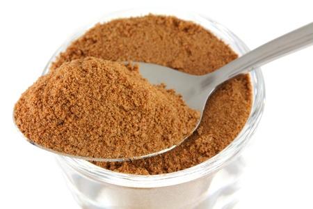 sugar powder: Closeup photo   a tablespoon of chocolate  cocoa , sugar, whey, malt extract and milk flavoring powder