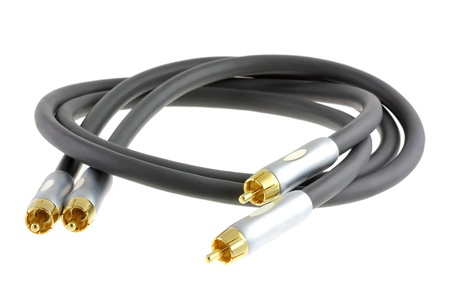 phono: Good quality of Audio Cable   RCA connector  Phono Cinch connector  isolated on white