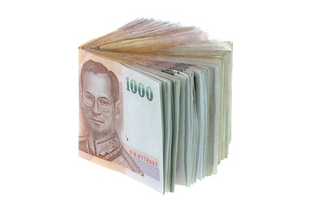 Thai money   a stack of 1000 banknotes isolated on white background  Stock Photo - 13475863