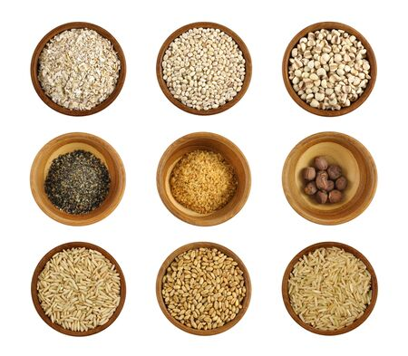 Assortment of wholesome ingredient in a wooden bowl photo