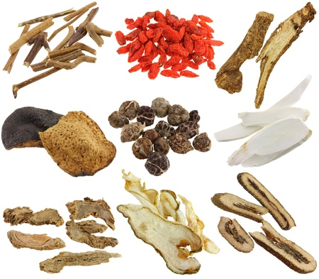 Herbal medicine -  Assortment of Dried Chinese herbs isolated on white background  Achyranthes root, Wolfberry, Bai Zhu, Tangerine peels, Cardamom, Chinese yam, Ginseng, Kaffir lime  and  citrus peels, Bitter orange  photo