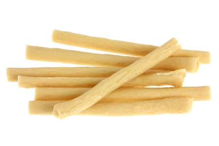 Yummy Dog Treats  Dog Food, Dog Chews, Snack  Chicken Munch sticks, Chicken flavor, isolated on white photo