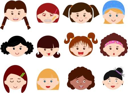 ethnics: Un tema di graziosi capi Icone di ragazze, donne, bambini femmina Set etnie diverse, isolato su sfondo bianco