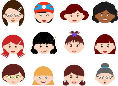 A Theme of cute Icons   Heads of Girls, Women, Kids  Female Set  Different ethnics, isolated on white background