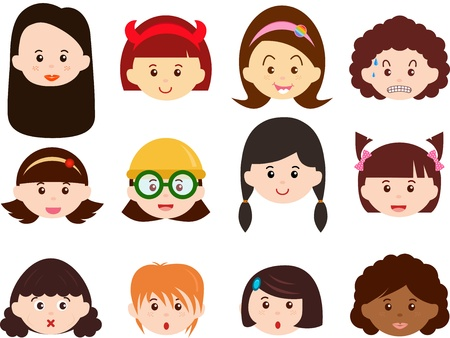 child hair: A Theme of cute Icons   Heads of Girls, Women, Kids  Female Set  Different ethnics, isolated on white background