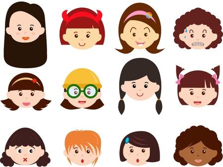 Un tema de Jefes bonitos iconos de niñas, mujeres, niños Mujeres Establecer diferentes etnias, aisladas sobre fondo blanco