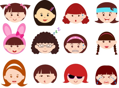 sleepy woman: A Theme of cute Icons   Heads of Girls, Women, Kids  Female Set  Different ethnics, isolated on white background