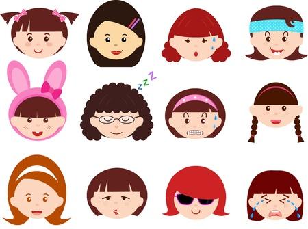 cintillos: Un tema de Jefes bonitos iconos de ni�as, mujeres, ni�os Mujeres Establecer diferentes etnias, aisladas sobre fondo blanco