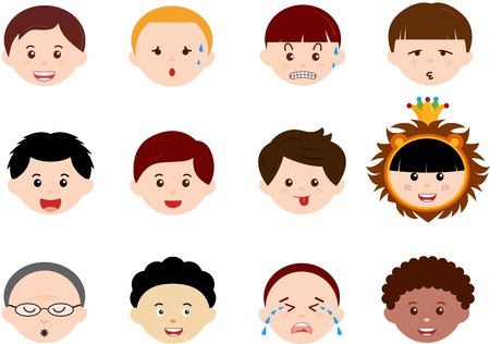 bald cartoon: A Theme of cute Icons   Heads of Boys, Men, Kids  Male Set  Different ethnics, isolated on white background