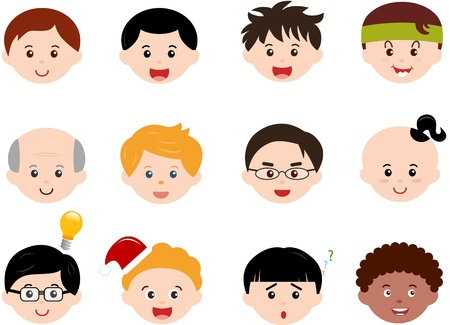 siblings: A Theme of cute Icons   Heads of Boys, Men, Kids  Male Set  Different ethnics, isolated on white background