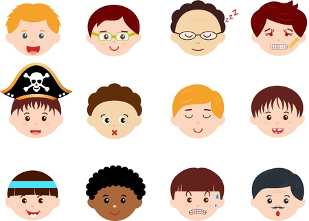 cintillos: Un tema de Jefes Iconos lindos de niños, hombres, niños etnias Set machos diferentes, aisladas sobre fondo blanco Vectores