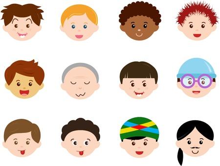 familia asiatica: Un tema de Jefes Iconos lindos de ni�os, hombres, ni�os etnias Set machos diferentes, aisladas sobre fondo blanco Vectores