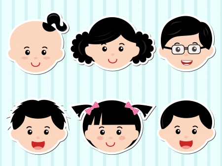 A Theme of cute Icons  Heads of Girls Boys with Black Hair Vector