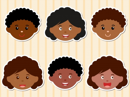 A Theme of cute Icons  Heads of African-American Girls Boys Vector