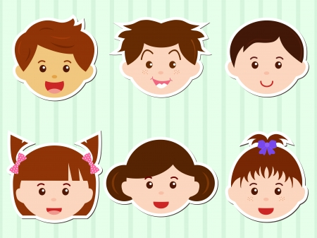 A Theme of cute Icons  Heads of Girls Boys with Brown Hair Vector