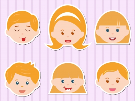 curly hair child: A Theme of cute Icons  Heads of Girls Boys with Golden Blond Hair