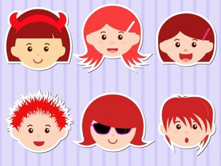 familia asiatica: Un tema de iconos lindos cabezas de muchachos chicas con pelo rojo