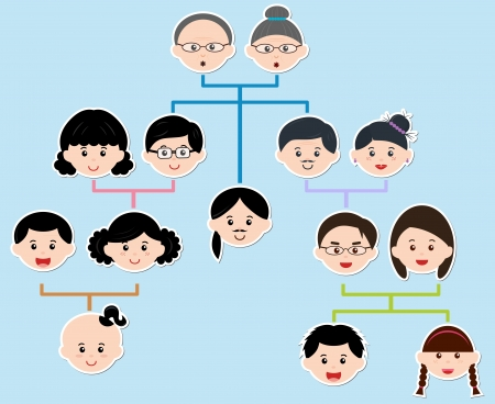 arbol geneal�gico: Iconos Family Tree, un diagrama en un �rbol geneal�gico, sobre fondo azul Vectores