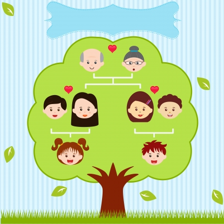 árbol genealógico: Iconos Family Tree, un diagrama en un árbol genealógico, sobre fondo azul Vectores