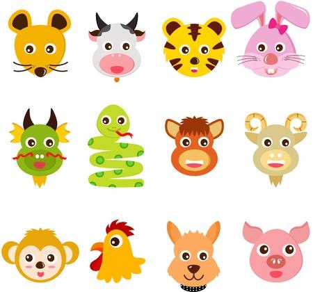 chinese pig: Un conjunto de iconos coloridos y lindos: doce animales del Zodiaco Chino Vectores