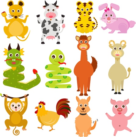 A set of colorful and cute Icons : Twelve Chinese Zodiac animals Vector