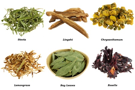 Assortment of Dried Herbal Tea (from leaves, flowers), isolated on white background