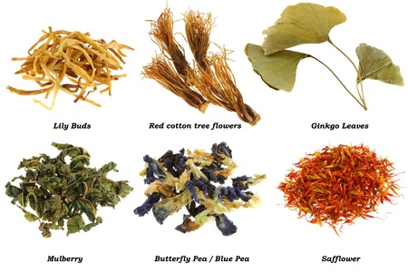 Assortment of Dried Herbal Tea (from leaves, flowers, stigmas), isolated on white background photo