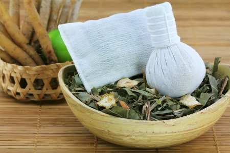 Aromatic Herbal Steam  traditional Thai compress   cotton bag filled with Dried Thai Herbs, used to improve circulation, relax muscles and stimulate nerves Stock Photo - 14403265