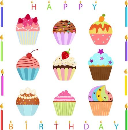 candeline compleanno: Icone vettoriali cute cupcake con condimenti diversi e Candele di buon compleanno Vettoriali