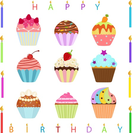 vector Icons   Cute Cupcake with different toppings and Happy Birthday Candles Фото со стока - 14486740