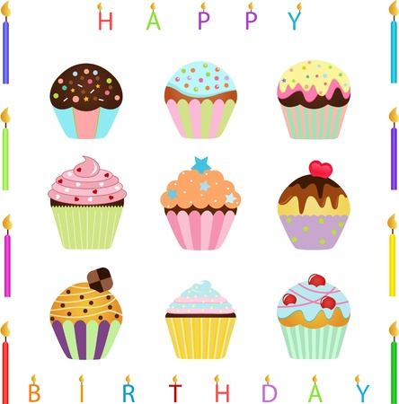 vector Icons   Cute Cupcake with different toppings and Happy Birthday Candles
