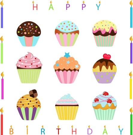 vector Pictogrammen Leuke Cupcake met verschillende toppings en Happy kaarsjes