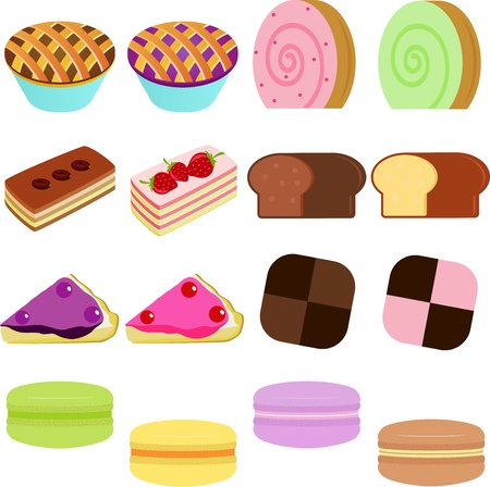 confection: vector Icons   Cute Sweet Cake, Cupcake, Pie, Cheesecake and pastel Macoron