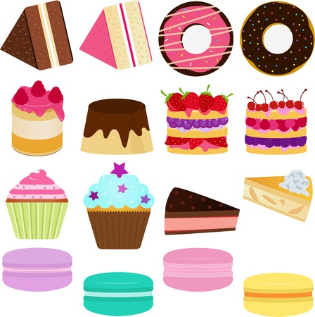 Icons   Cute Sweet Cake, Cupcake, Pie, Cheesecake and pastel Macoron  Vector