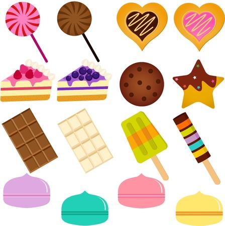 Ikony Słodkie słodkie ciasto, Lody, ciasteczka, cukierki i pastel Macoron Ilustracje wektorowe