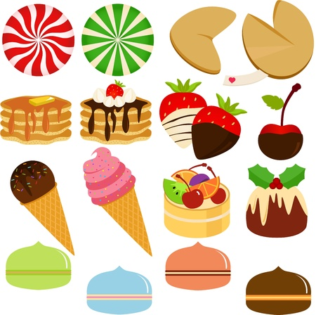 Icons   Cute Sweet Cake, Ice cream,Cookie, Candies and pastel Macoron Stock Vector - 14487718