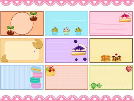 macaron: Eine nette Sammlung von Label-Karte Namenskarte Tag in Pastellfarben