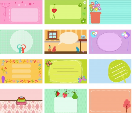 animal themes: A Cute Collection of Vector Label   Card   Name card   Tag in pastel colors Illustration