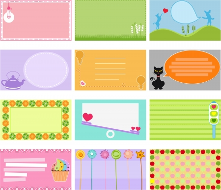 A Cute Collection of Vector Label   Card   Name card   Tag in pastel colors Vector